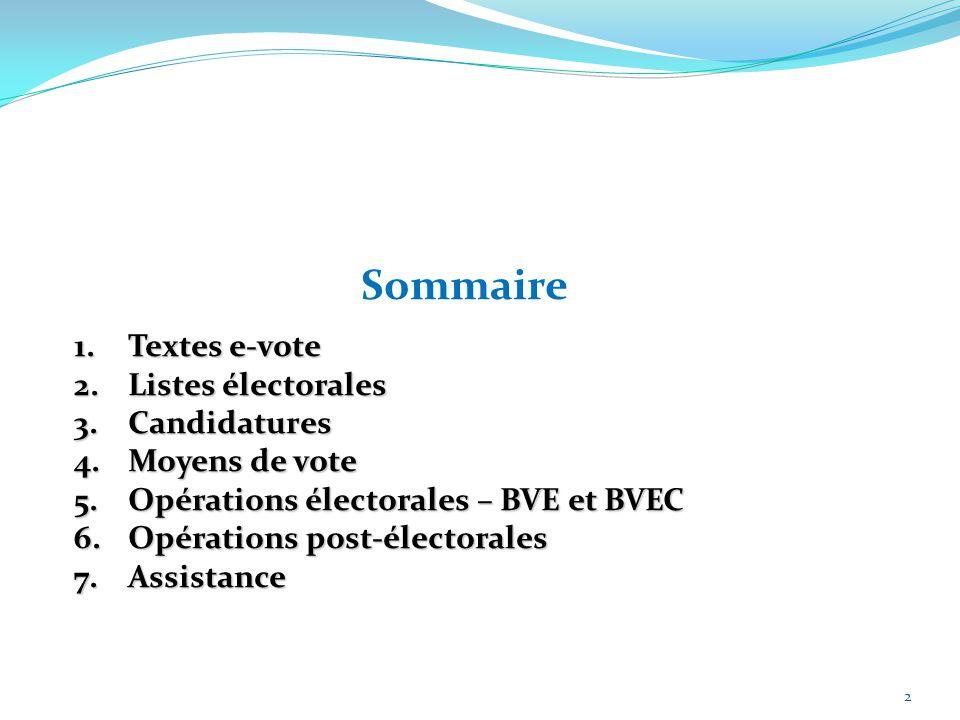2 Sommaire 1.Textes e-vote 2.Listes électorales 3.Candidatures 4.Moyens de vote 5.Opérations électorales – BVE et BVEC 6.Opérations post-électorales 7