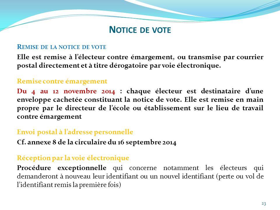 23 R EMISE DE LA NOTICE DE VOTE Elle est remise à l'électeur contre émargement, ou transmise par courrier postal directement et à titre dérogatoire pa
