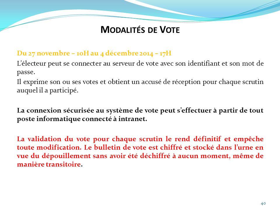 40 Du 27 novembre – 10H au 4 décembre 2014 – 17H L'électeur peut se connecter au serveur de vote avec son identifiant et son mot de passe. Il exprime