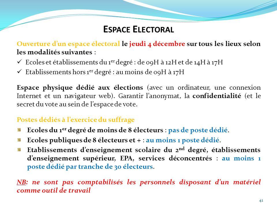 41 Ouverture d'un espace électoral le jeudi 4 décembre sur tous les lieux selon les modalités suivantes : Ecoles et établissements du 1 er degré : de