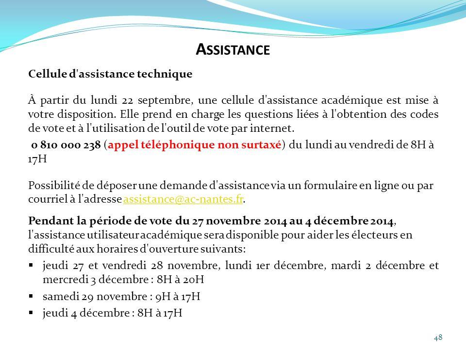 48 Cellule d'assistance technique À partir du lundi 22 septembre, une cellule d'assistance académique est mise à votre disposition. Elle prend en char