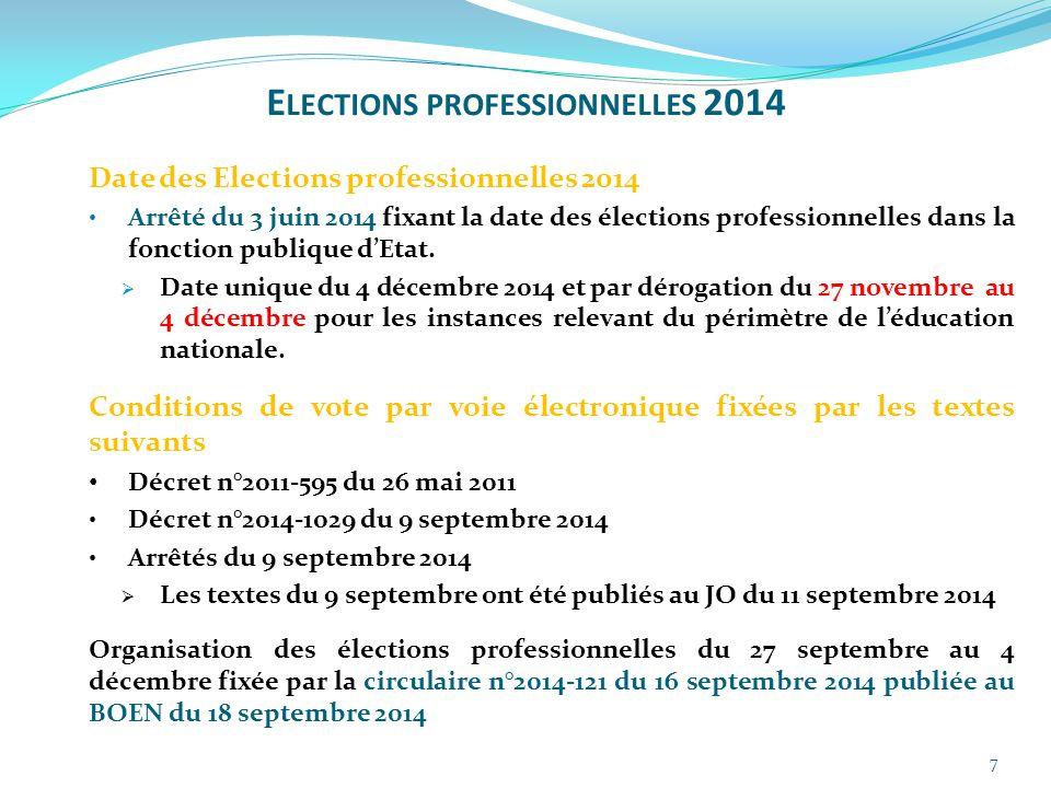 7 Date des Elections professionnelles 2014 Arrêté du 3 juin 2014 fixant la date des élections professionnelles dans la fonction publique d'Etat.  Dat