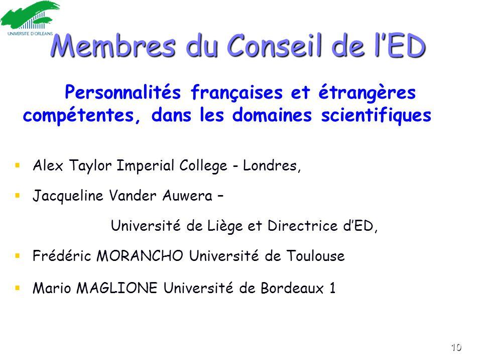 Membres du Conseil de l'ED 4 Personnalités françaises et étrangères compétentes, dans les domaines scientifiques   Alex Taylor Imperial College - Lo