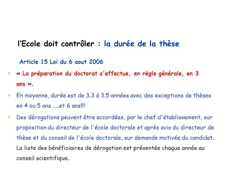Article 15 Loi du 6 aout 2006  « La préparation du doctorat s'effectue, en règle générale, en 3 ans ».  En moyenne, durée est de 3.3 à 3.5 années av