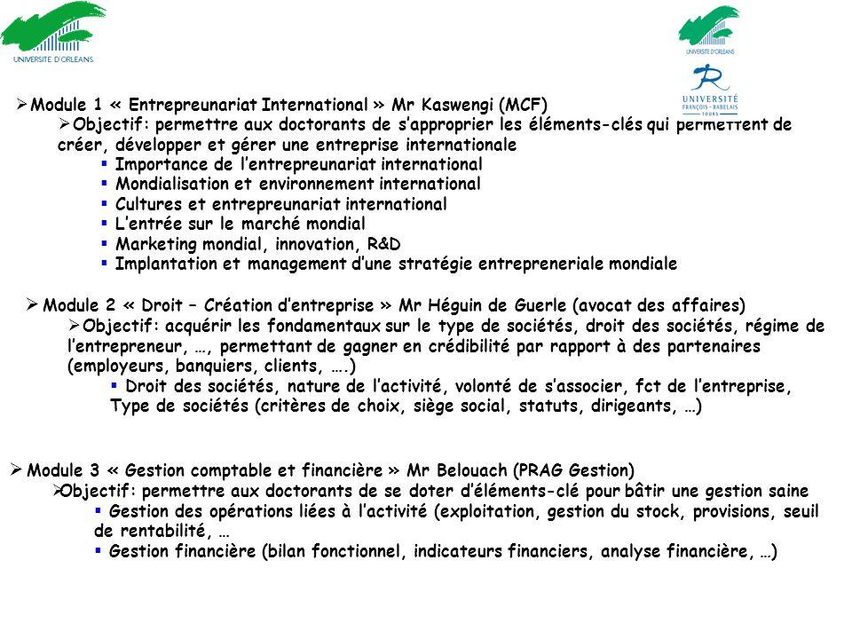 Nouveau cours : « Innover et Entreprendre » (cours adossé au MBA Orléans - plusieurs cours en anglais)  Module 1 « Entrepreunariat International » Mr