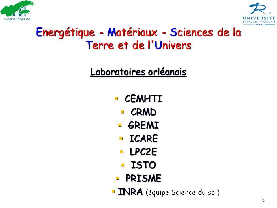5 Energétique - Matériaux - Sciences de la Terre et de l'Univers Laboratoires orléanais  CEMHTI  CRMD  GREMI  ICARE  LPC2E  ISTO  PRISME  INRA