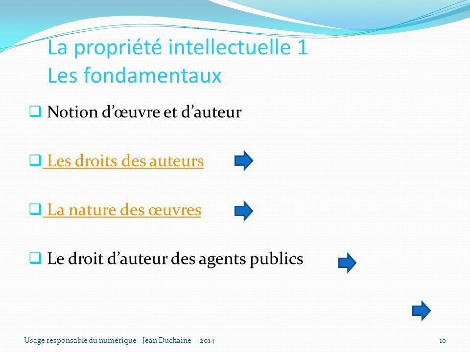 La propriété intellectuelle 1 Les fondamentaux  Notion d'œuvre et d'auteur  Les droits des auteurs Les droits des auteurs  La nature des œuvres La