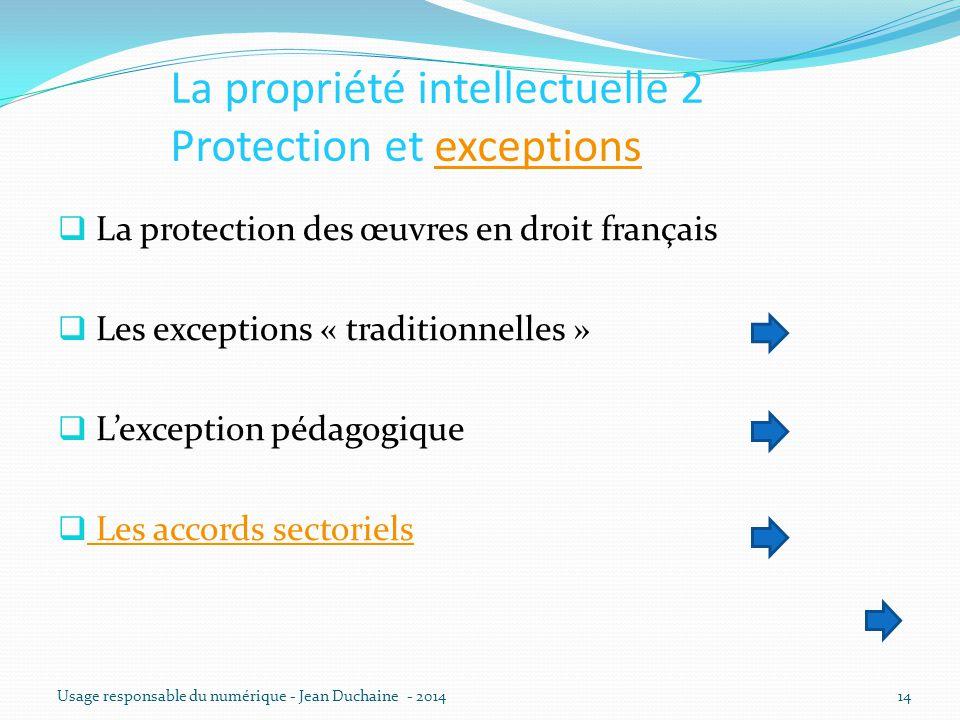 La propriété intellectuelle 2 Protection et exceptionsexceptions  La protection des œuvres en droit français  Les exceptions « traditionnelles »  L