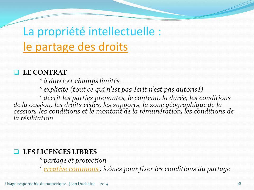 La propriété intellectuelle : le partage des droits le partage des droits  LE CONTRAT * à durée et champs limités * explicite (tout ce qui n'est pas