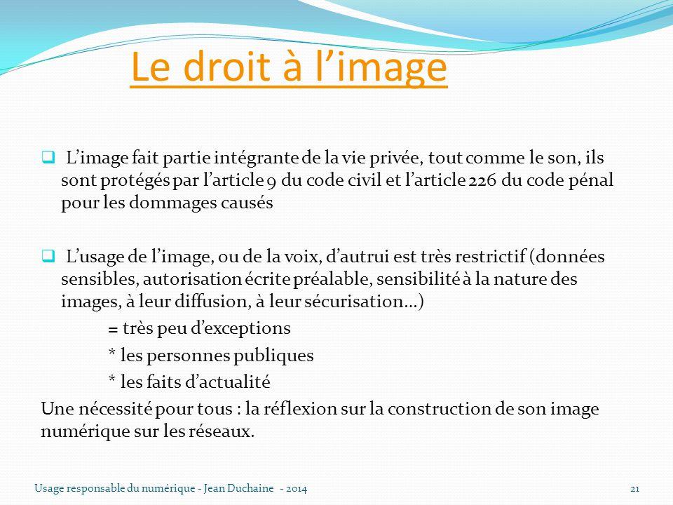 Le droit à l'image  L'image fait partie intégrante de la vie privée, tout comme le son, ils sont protégés par l'article 9 du code civil et l'article