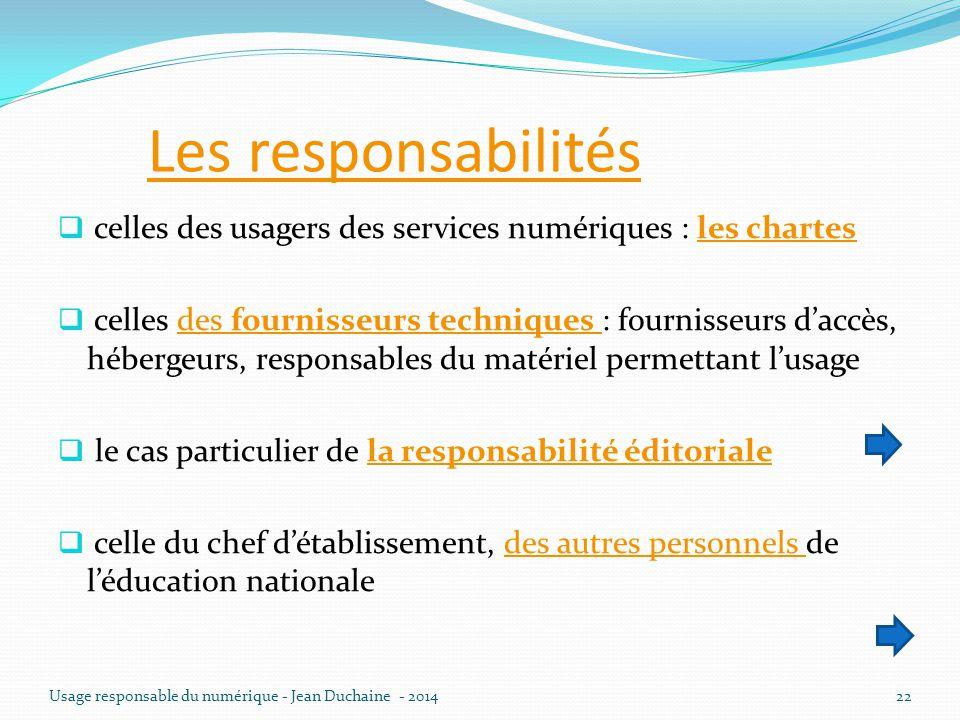 Les responsabilités  celles des usagers des services numériques : les chartesles chartes  celles des fournisseurs techniques : fournisseurs d'accès,