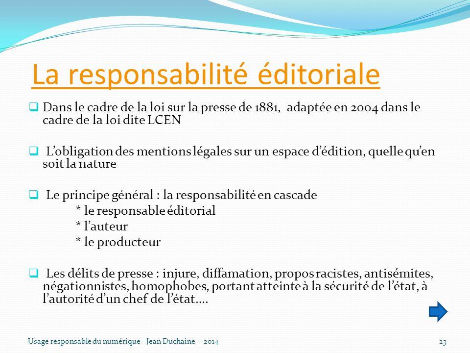 La responsabilité éditoriale  Dans le cadre de la loi sur la presse de 1881, adaptée en 2004 dans le cadre de la loi dite LCEN  L'obligation des men