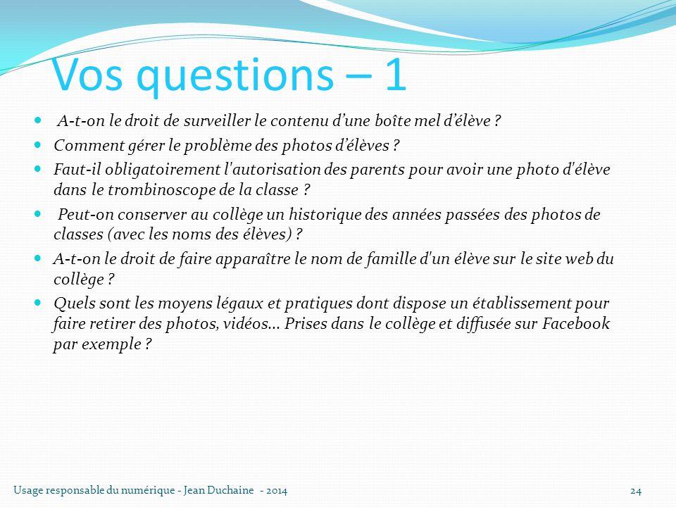 Vos questions – 1 A-t-on le droit de surveiller le contenu d'une boîte mel d'élève ? Comment gérer le problème des photos d'élèves ? Faut-il obligatoi