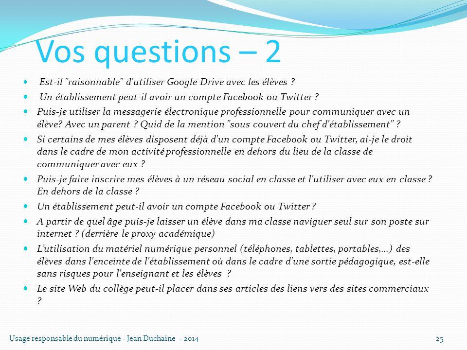 Vos questions – 2 Est-il