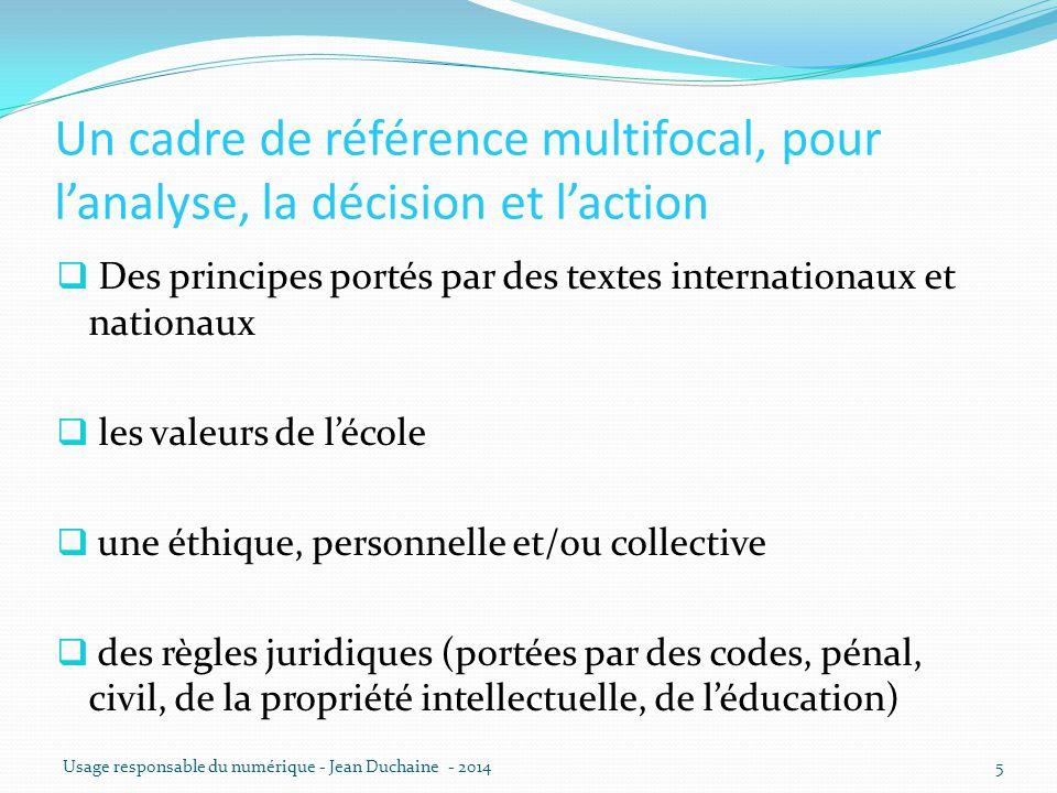Un cadre de référence multifocal, pour l'analyse, la décision et l'action  Des principes portés par des textes internationaux et nationaux  les vale