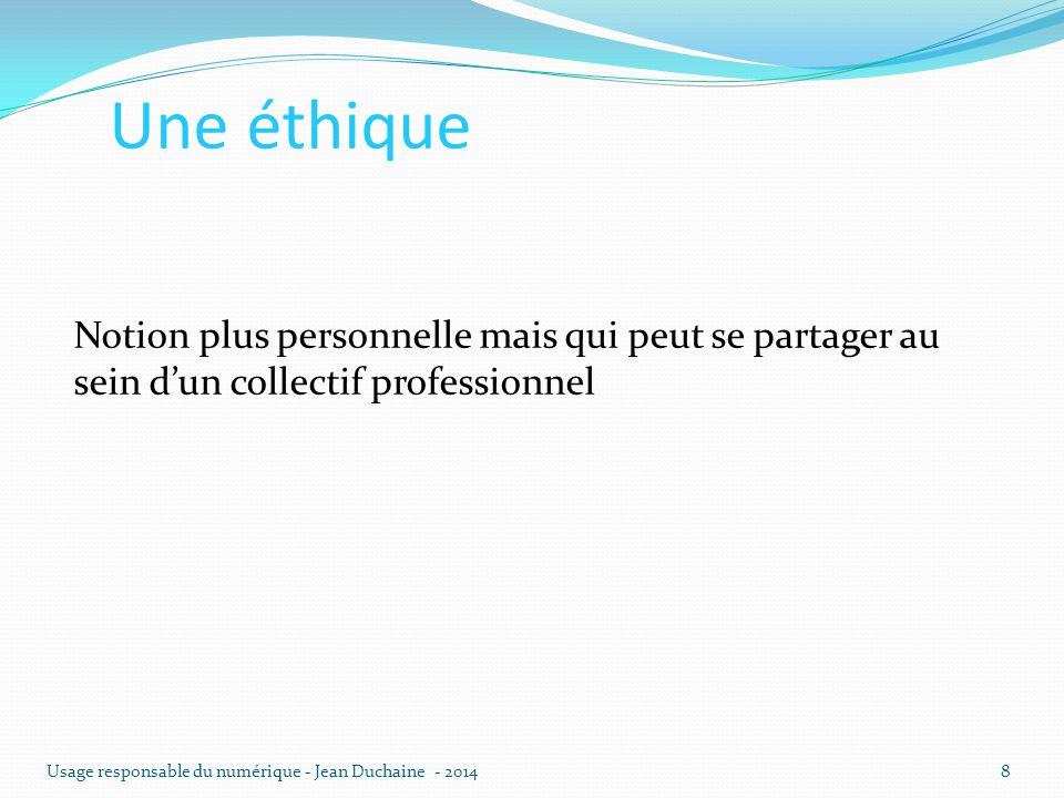 Une éthique Notion plus personnelle mais qui peut se partager au sein d'un collectif professionnel Usage responsable du numérique - Jean Duchaine - 20