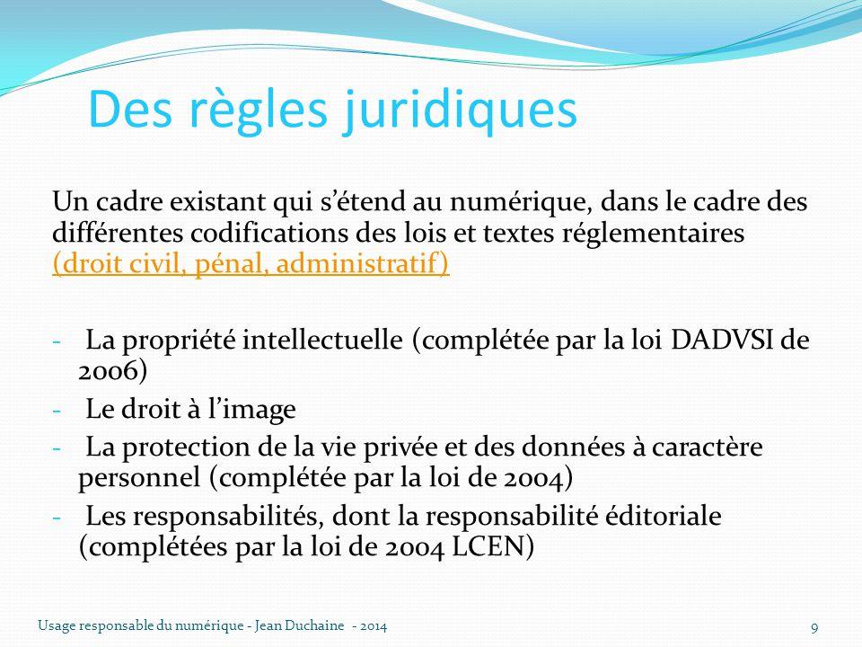 Des règles juridiques Un cadre existant qui s'étend au numérique, dans le cadre des différentes codifications des lois et textes réglementaires (droit