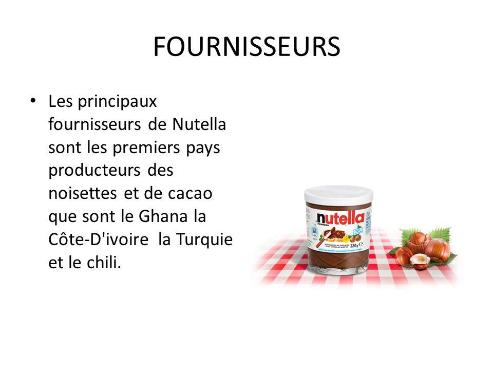 FOURNISSEURS Les principaux fournisseurs de Nutella sont les premiers pays producteurs des noisettes et de cacao que sont le Ghana la Côte-D'ivoire la