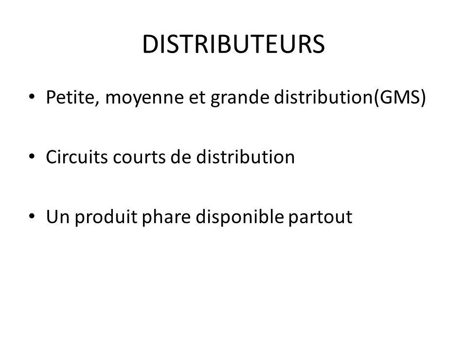 DISTRIBUTEURS Petite, moyenne et grande distribution(GMS) Circuits courts de distribution Un produit phare disponible partout