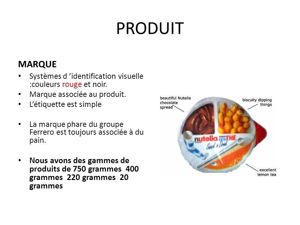 PRODUIT MARQUE Systèmes d 'identification visuelle :couleurs rouge et noir. Marque associée au produit. L'étiquette est simple La marque phare du grou