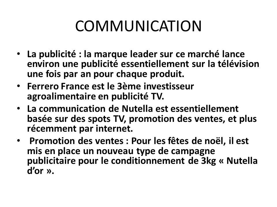 COMMUNICATION La publicité : la marque leader sur ce marché lance environ une publicité essentiellement sur la télévision une fois par an pour chaque