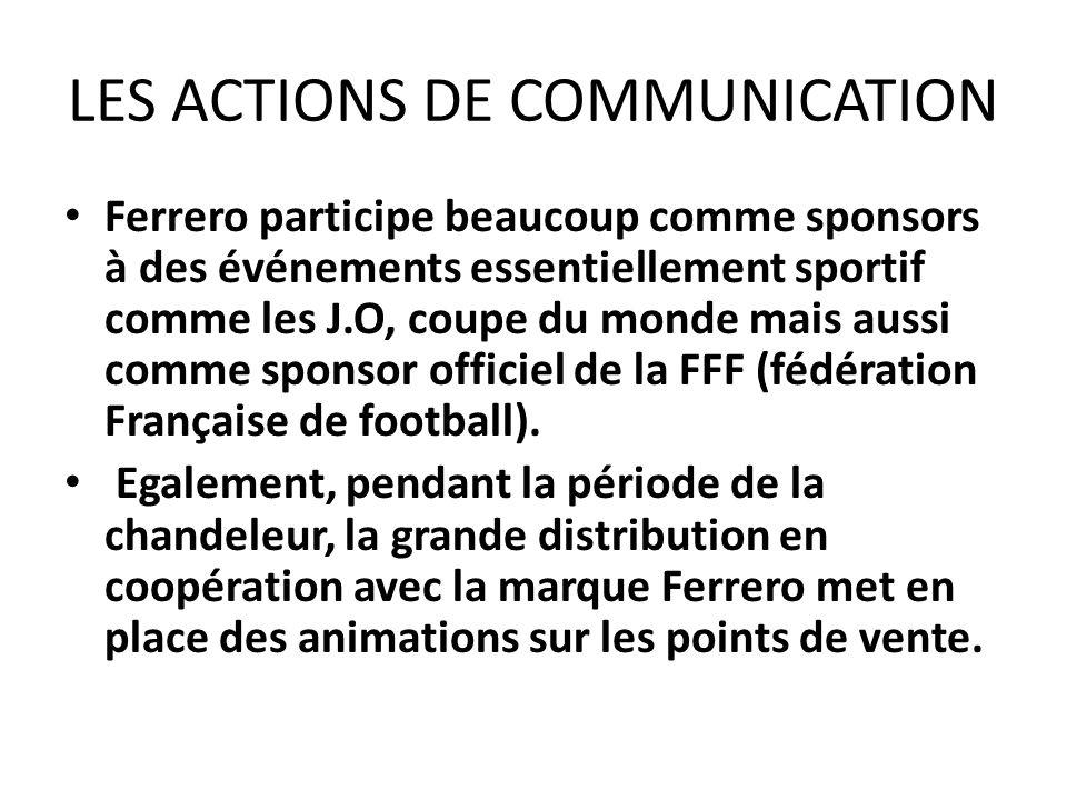 LES ACTIONS DE COMMUNICATION Ferrero participe beaucoup comme sponsors à des événements essentiellement sportif comme les J.O, coupe du monde mais aus