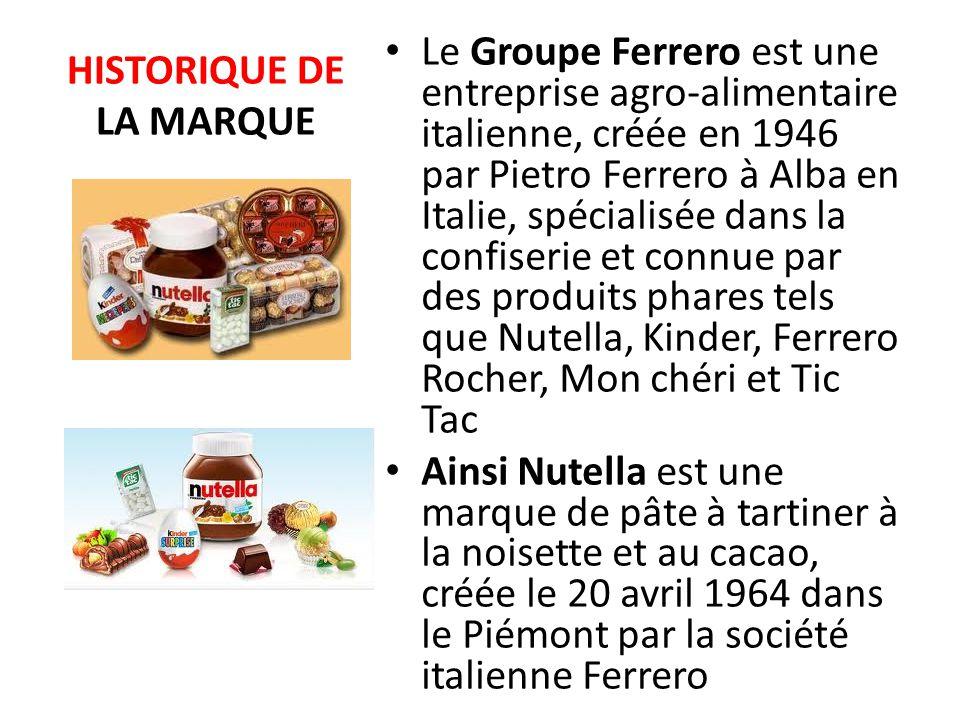 LES DATES CLEES DE LA MARQUE 1946 Fabrication par Pietro Ferrero de la première patte à tartiner: « Giandujot » 1949 Amélioration de la recette de« Giandujot » qui sera vendu sous la dénomination de « Supercrema » 1961 Le produit fut fabriqué hors d Italie pour la première fois, à Villers-Écalles(France).