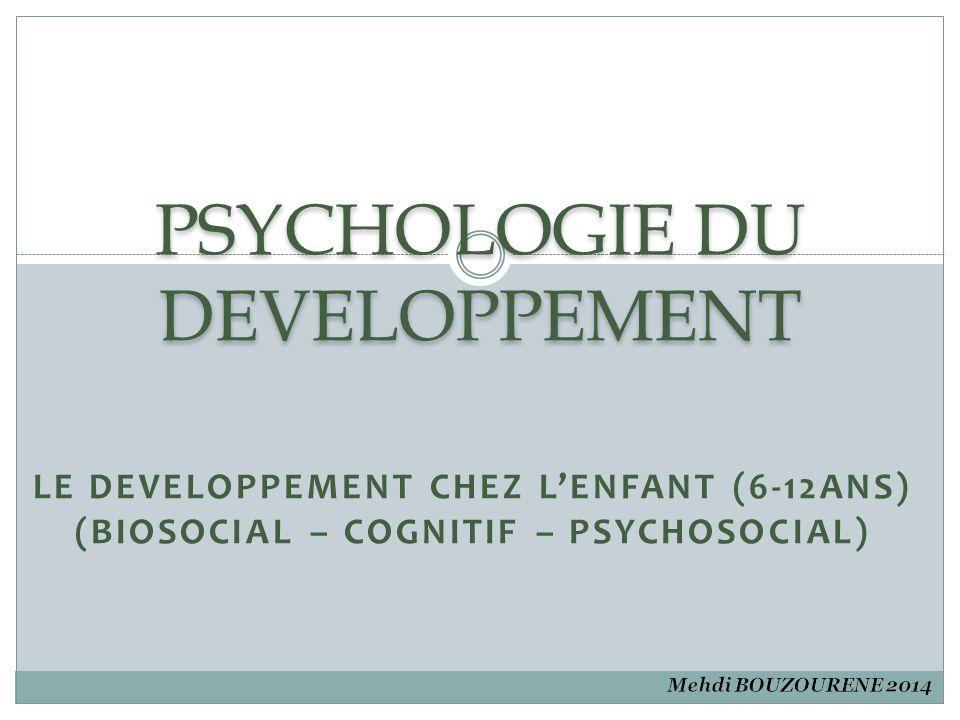 Plan 1- Introduction 2- Le développement biosocial chez l'enfant de 6 à 12 ans a- Croissance physique et la santé b- Croissance et le développement du cerveau c- Les sens et les habilités motrices 3- Le développement cognitif chez l'enfant de 6 à 12 ans a- La théorie de Piaget et la période concrète b- Vygotsky et le rôle de l'enseignement c- Le traitement de l'information d- Le langage 4- Le développement psychosocial chez l'enfant de 6 à 12 ans a- Le développement de la personnalité b- Le monde social 5- Références
