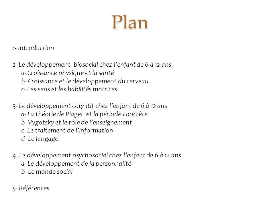 Plan 1- Introduction 2- Le développement biosocial chez l'enfant de 6 à 12 ans a- Croissance physique et la santé b- Croissance et le développement du