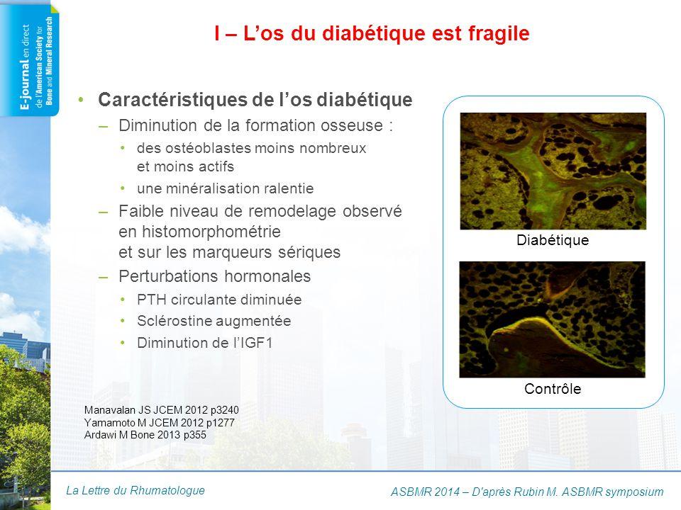 La Lettre du Rhumatologue I – L'os du diabétique est fragile ASBMR 2014 – D'après Rubin M. ASBMR symposium Manavalan JS JCEM 2012 p3240 Yamamoto M JCE