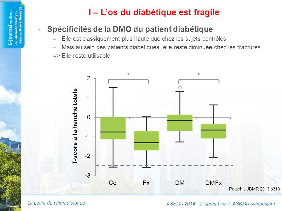 La Lettre du Rhumatologue ASBMR 2014 – D'après Link T. ASBMR symposium ** Spécificités de la DMO du patient diabétique –Elle est classiquement plus ha