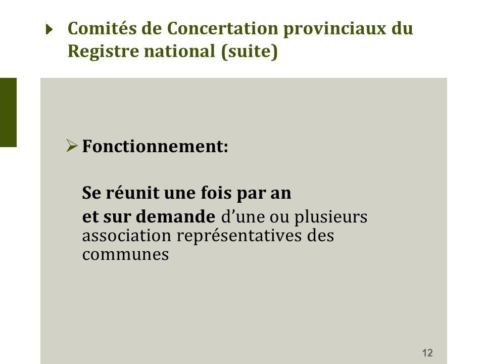  Fonctionnement: Se réunit une fois par an et sur demande d'une ou plusieurs association représentatives des communes 12 Comités de Concertation provinciaux du Registre national (suite)