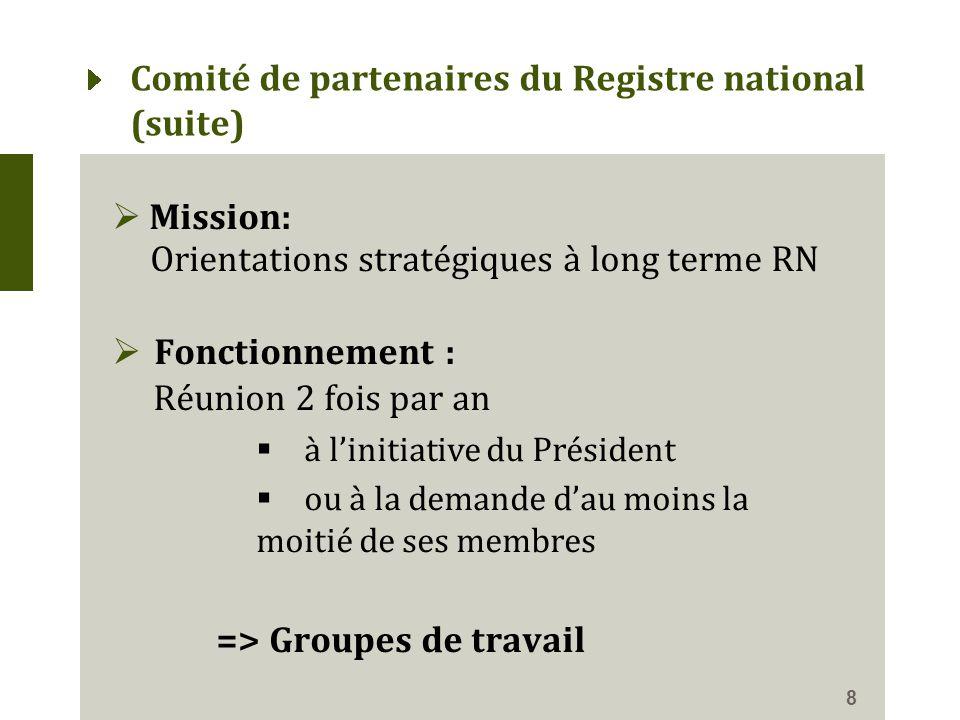 Comité de partenaires du Registre national (suite)  Mission: Orientations stratégiques à long terme RN  Fonctionnement : Réunion 2 fois par an  à l'initiative du Président  ou à la demande d'au moins la moitié de ses membres => Groupes de travail 8