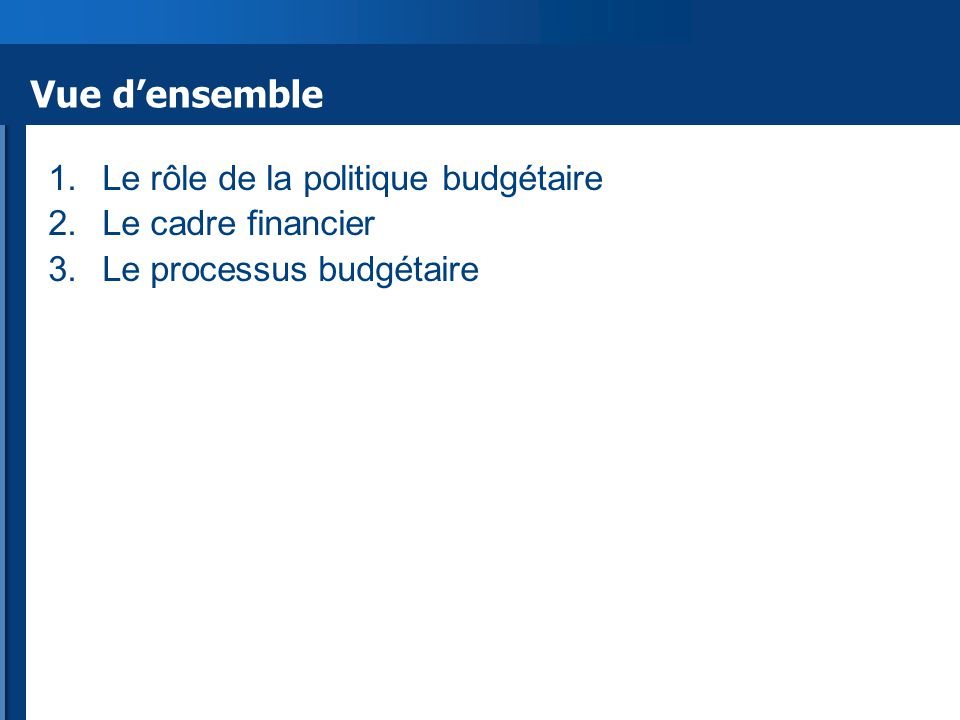Vue d'ensemble 1.Le rôle de la politique budgétaire 2.Le cadre financier 3.Le processus budgétaire