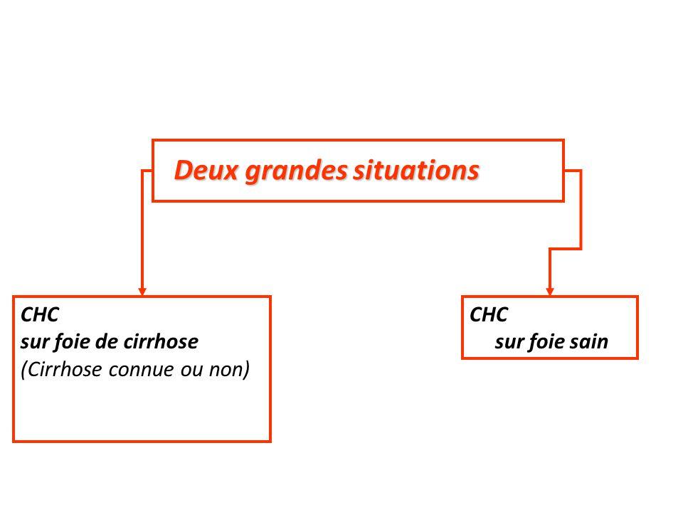 Deux grandes situations CHC sur foie de cirrhose (Cirrhose connue ou non) CHC sur foie sain