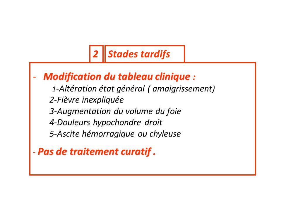 Stades tardifs2 -Modification du tableau clinique : 1 -Altération état général ( amaigrissement) 2-Fièvre inexpliquée 3-Augmentation du volume du foie