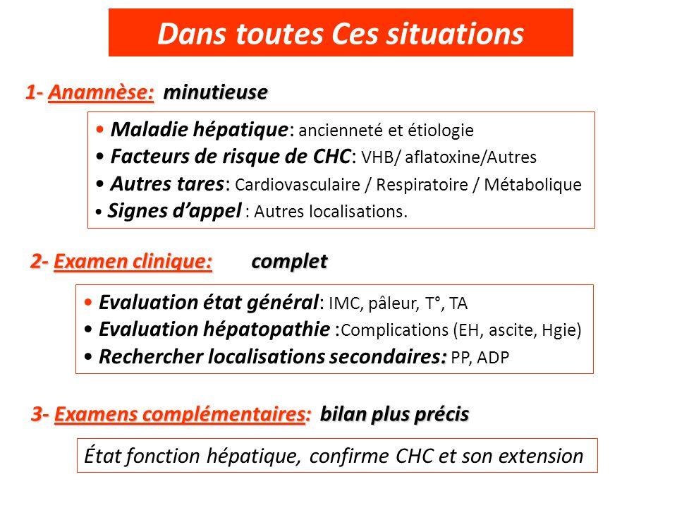 Dans toutes Ces situations 1- Anamnèse: minutieuse 2- Examen clinique: 3- Examens complémentaires: bilan plus précis Maladie hépatique: ancienneté et