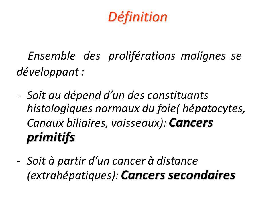 Définition Ensemble des proliférations malignes se développant : Cancers primitifs -Soit au dépend d'un des constituants histologiques normaux du foie