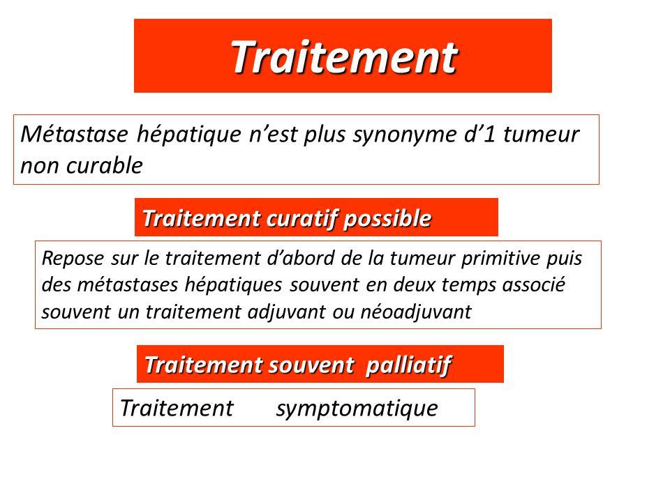 Traitement Repose sur le traitement d'abord de la tumeur primitive puis des métastases hépatiques souvent en deux temps associé souvent un traitement