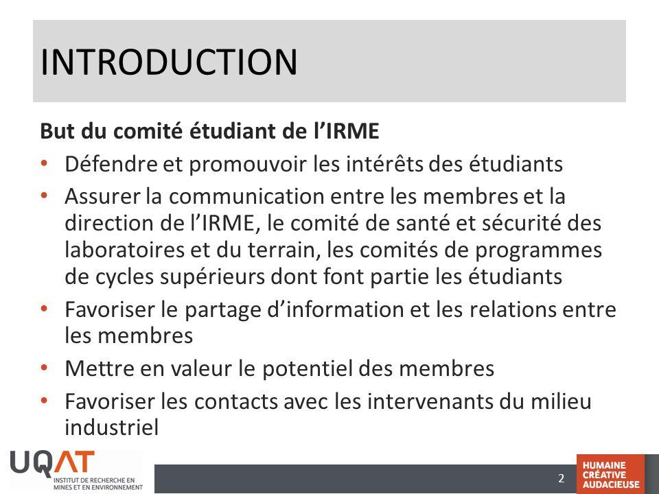 2 INTRODUCTION But du comité étudiant de l'IRME Défendre et promouvoir les intérêts des étudiants Assurer la communication entre les membres et la dir
