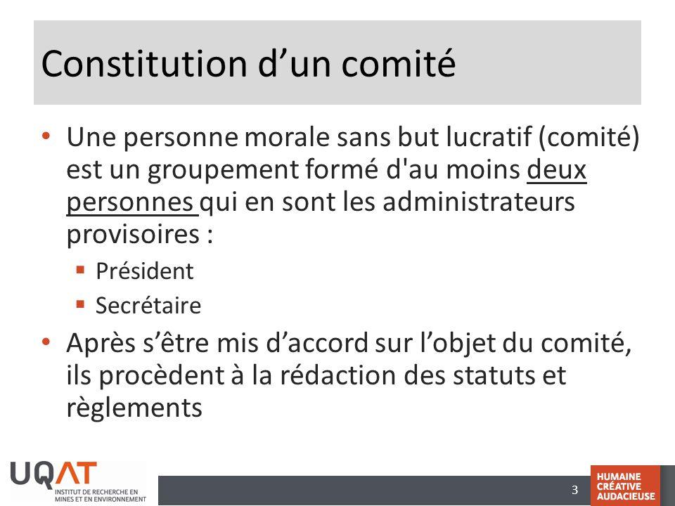 3 Constitution d'un comité Une personne morale sans but lucratif (comité) est un groupement formé d'au moins deux personnes qui en sont les administra