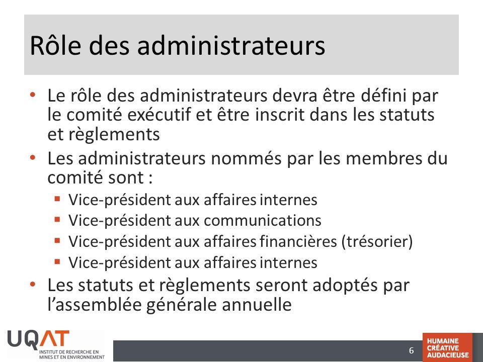 6 Rôle des administrateurs Le rôle des administrateurs devra être défini par le comité exécutif et être inscrit dans les statuts et règlements Les adm