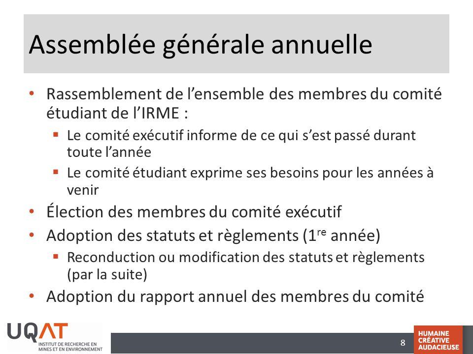 8 Assemblée générale annuelle Rassemblement de l'ensemble des membres du comité étudiant de l'IRME :  Le comité exécutif informe de ce qui s'est pass