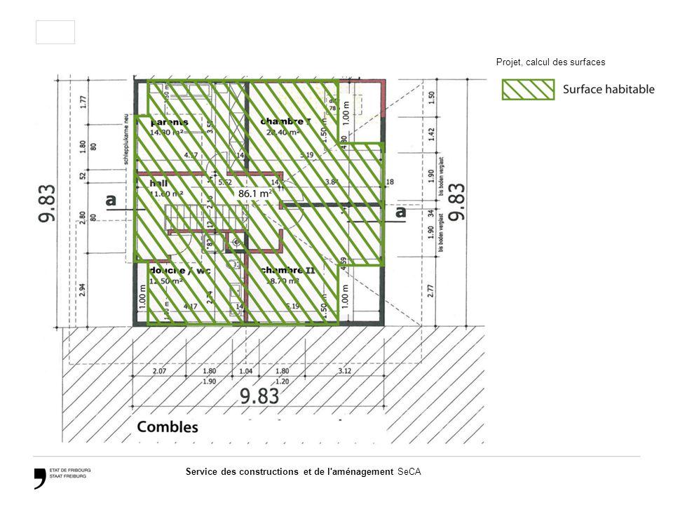 Service des constructions et de l aménagement SeCA Projet, calcul des surfaces