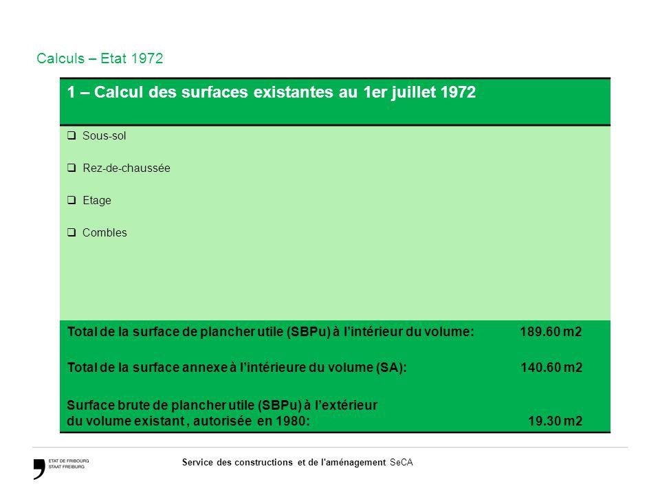Service des constructions et de l aménagement SeCA Exercice 1 – Calcul des surfaces existantes au 1er juillet 1972  Sous-sol  Rez-de-chaussée  Etage  Combles Total de la surface de plancher utile (SBPu) à l'intérieur du volume: 189.60 m2 Total de la surface annexe à l'intérieure du volume (SA): 140.60 m2 Surface brute de plancher utile (SBPu) à l'extérieur du volume existant, autorisée en 1980: 19.30 m2 Calculs – Etat 1972
