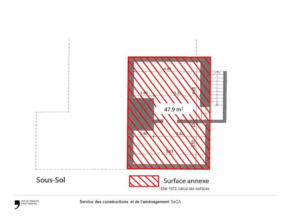 Service des constructions et de l aménagement SeCA Etat 1972, calcul des surfaces
