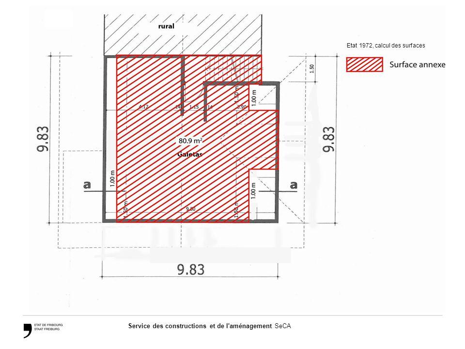 Service des constructions et de l aménagement SeCA 2 – Calcul des surfaces du projet de transformation  Sous-sol  Rez-de-chaussée  Etage  Combles Total de la surface de plancher utile (SBPu) à l'intérieur du volume existant: 275.70 m2 Total de la surface de plancher utile (SBPu) à l'extérieur du volume existant: 19.30 m2 Total de la surface annexe (SA) à l'intérieur du volume existant: 59.70 m2 Calculs - Projet