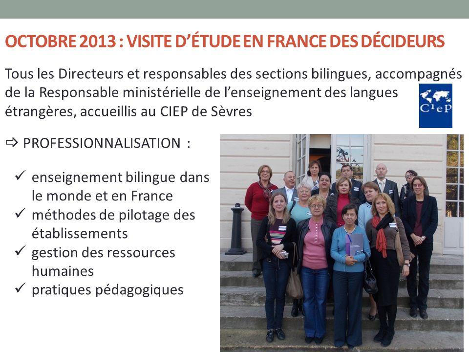 OCTOBRE 2013 : VISITE D'ÉTUDE EN FRANCE DES DÉCIDEURS Tous les Directeurs et responsables des sections bilingues, accompagnés de la Responsable minist