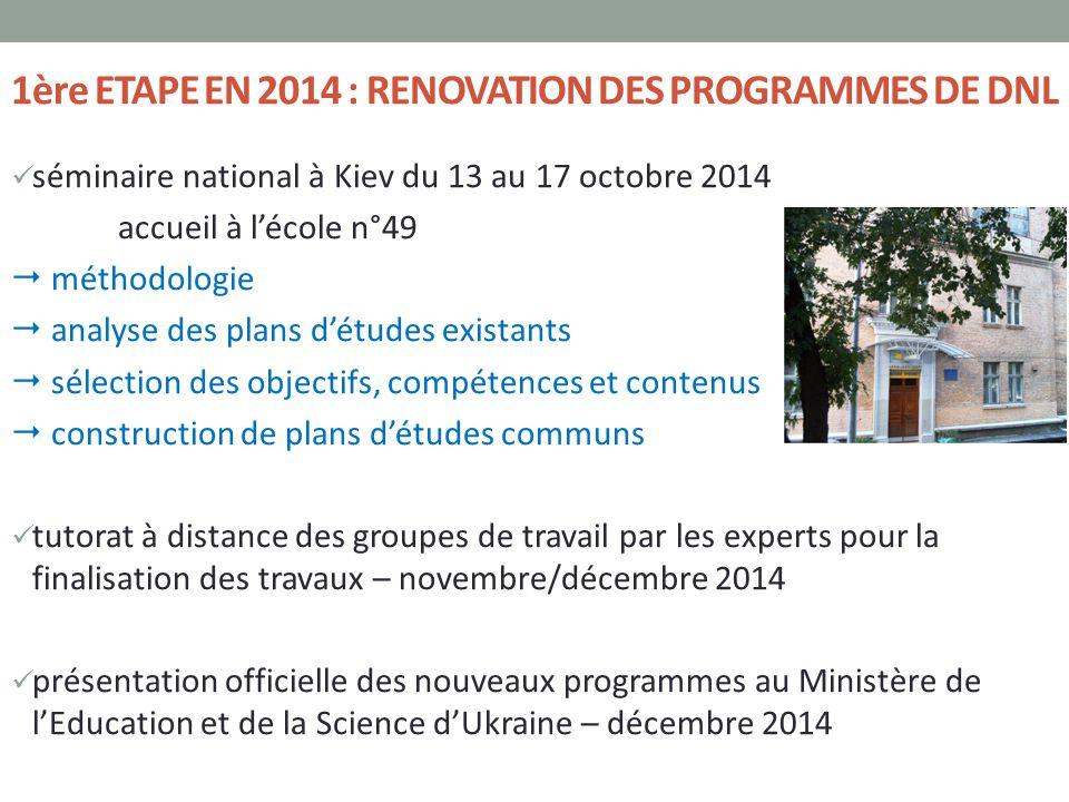 1ère ETAPE EN 2014 : RENOVATION DES PROGRAMMES DE DNL séminaire national à Kiev du 13 au 17 octobre 2014 accueil à l'école n°49  méthodologie  analy