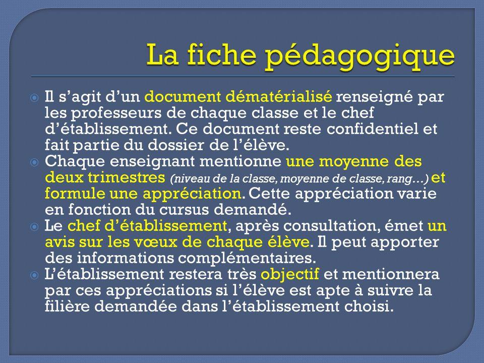  Il s'agit d'un document dématérialisé renseigné par les professeurs de chaque classe et le chef d'établissement.